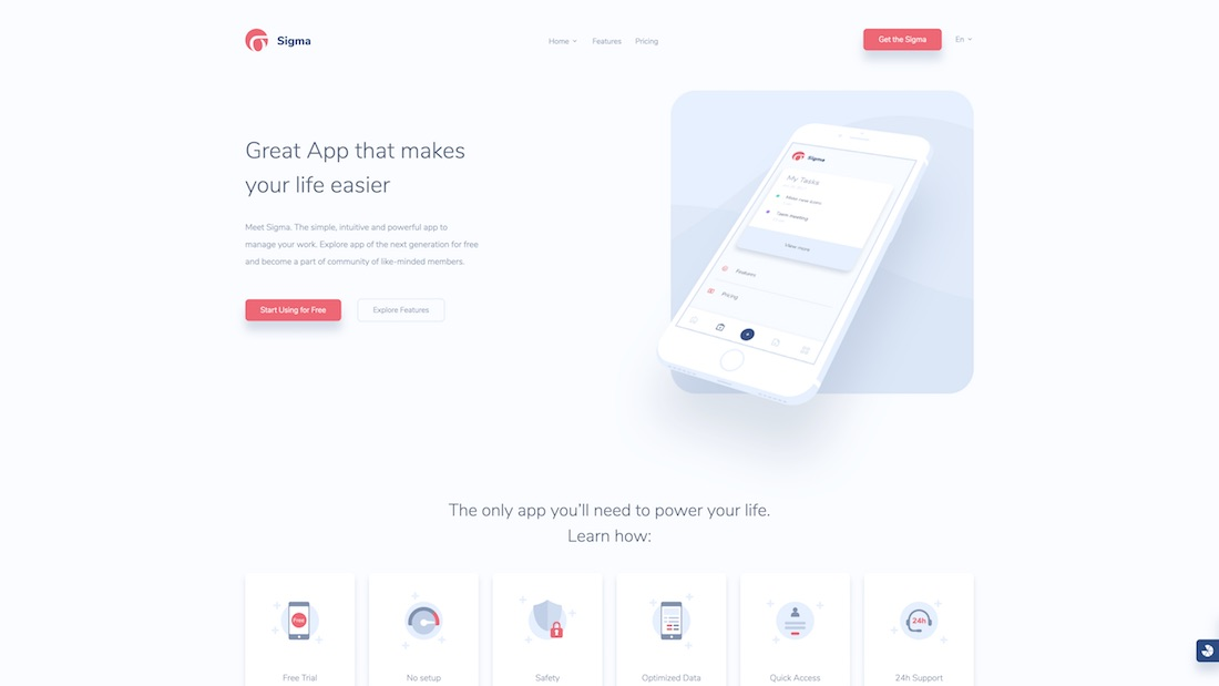 sigma mobile-friendly website template