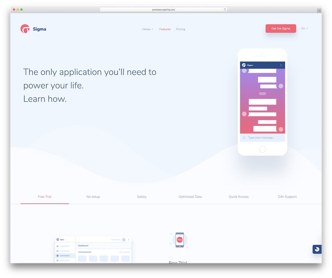 sigma simple website template