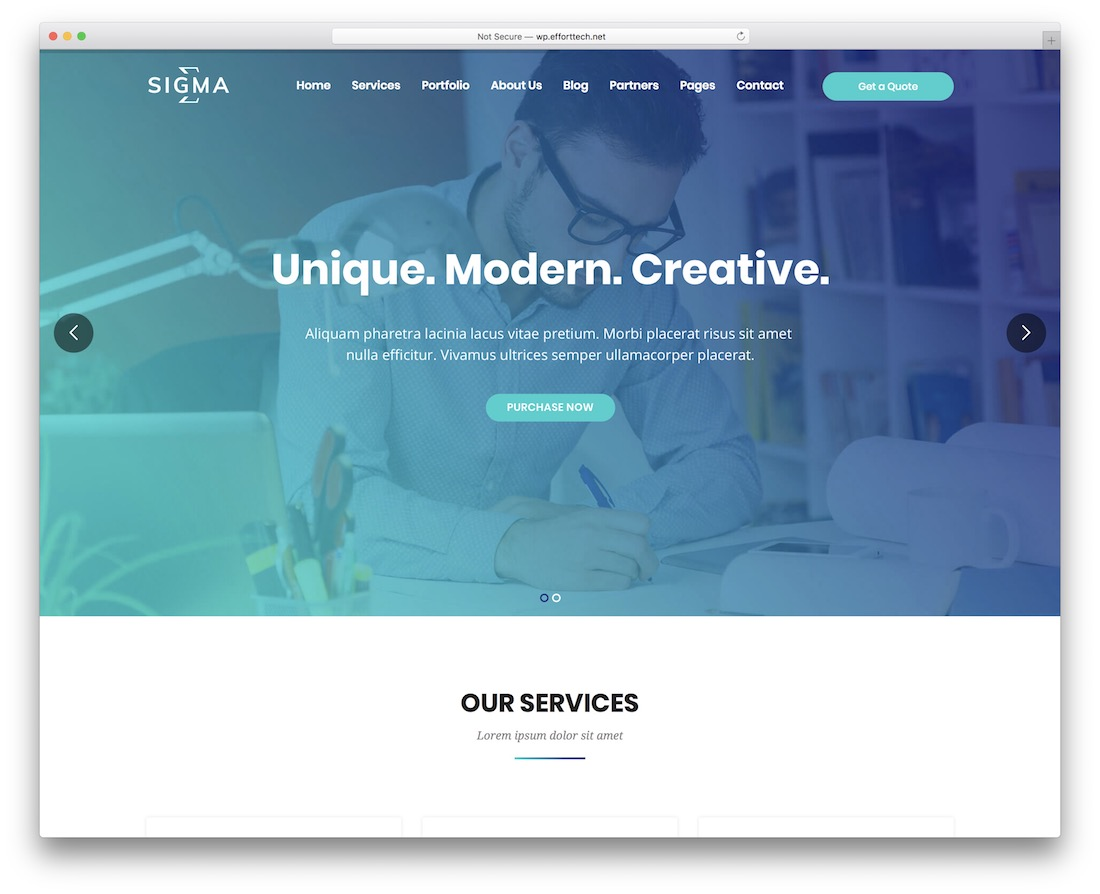 sigma wordpress theme with slider