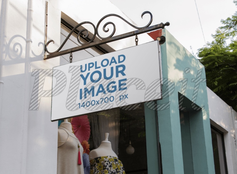 sign mockup outside a vintage boutique