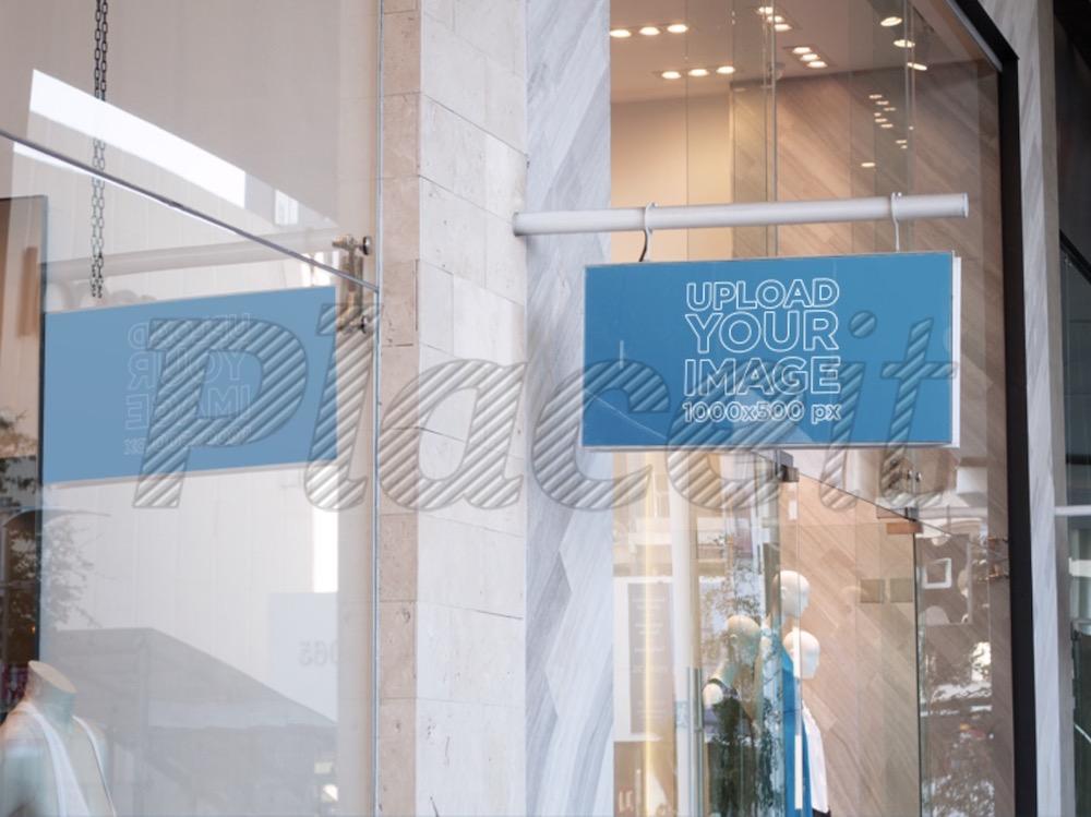 signage mockup outside a boutique