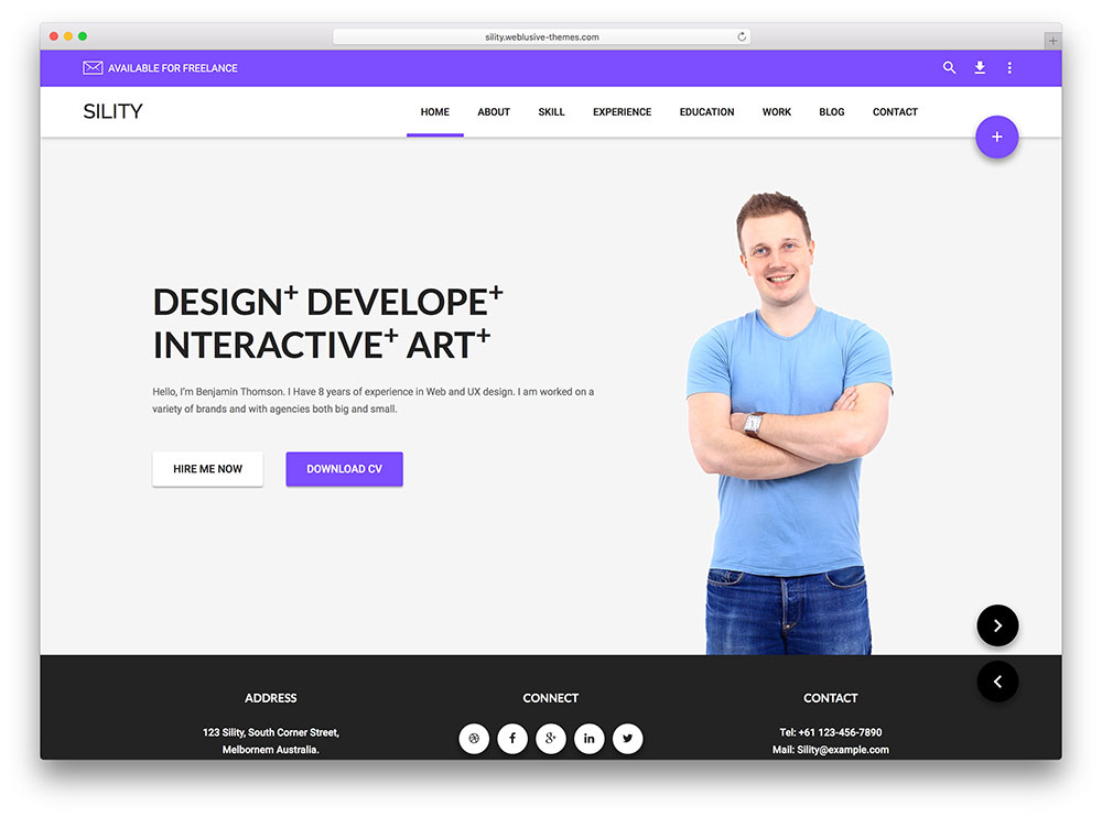 sility - online resume wordpress theme