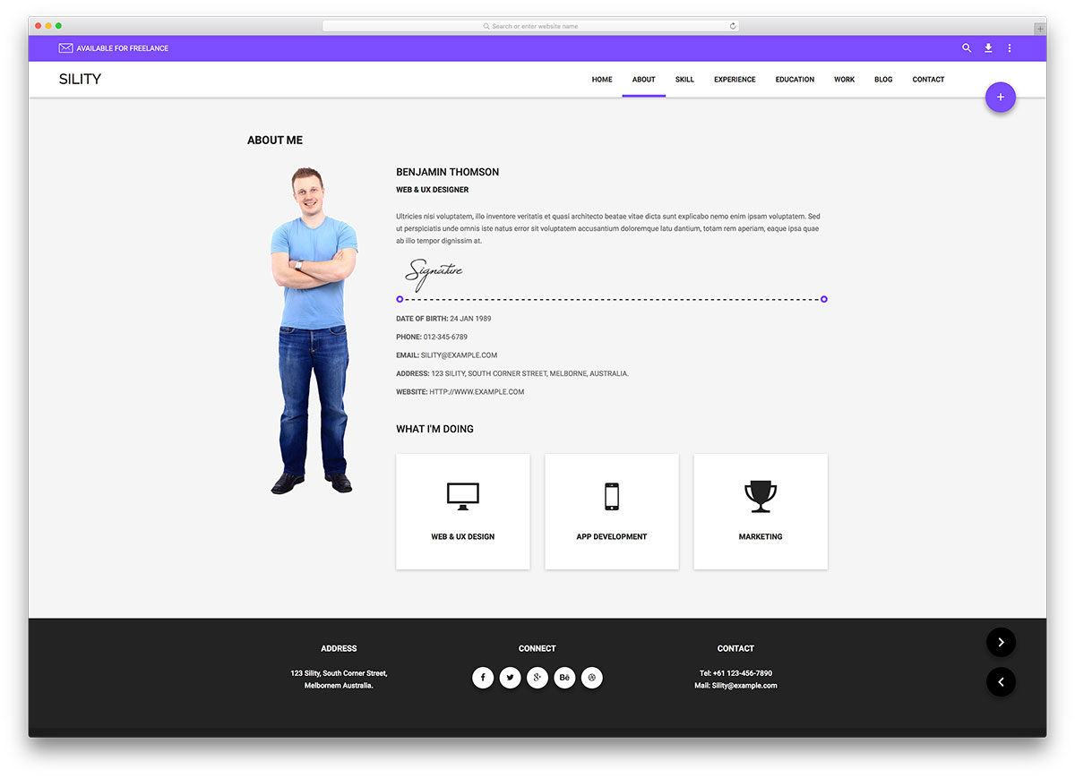sility material design resume website template - Personal Website Resume Examples