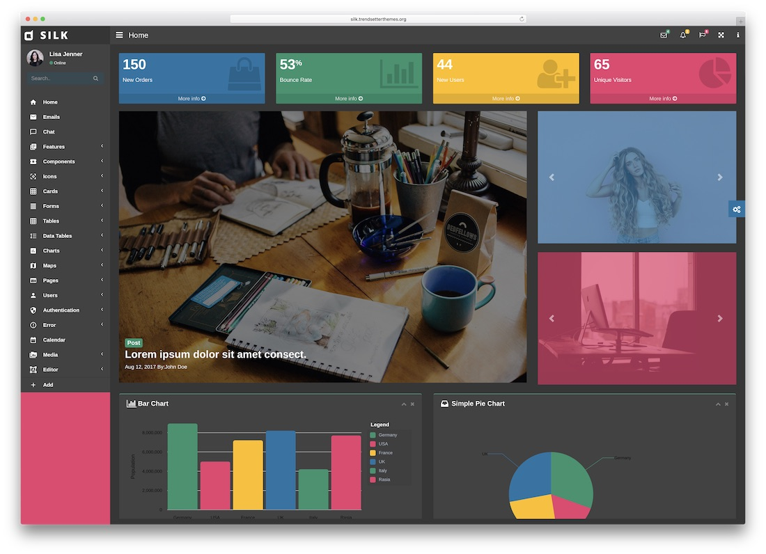 silk angularjs website template
