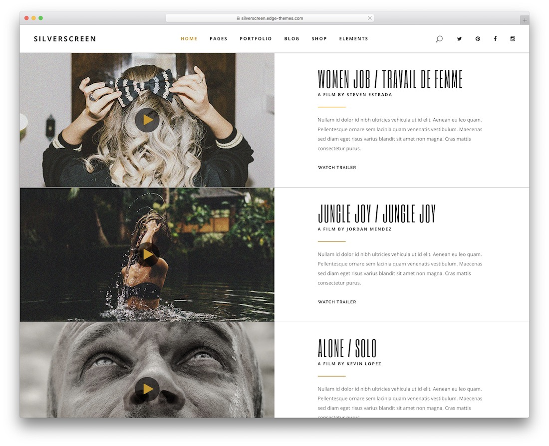 silverscreen wordpress video theme