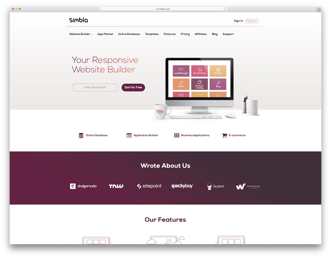 simbla website builder for designers