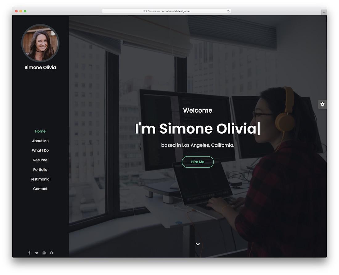 simone actor website template