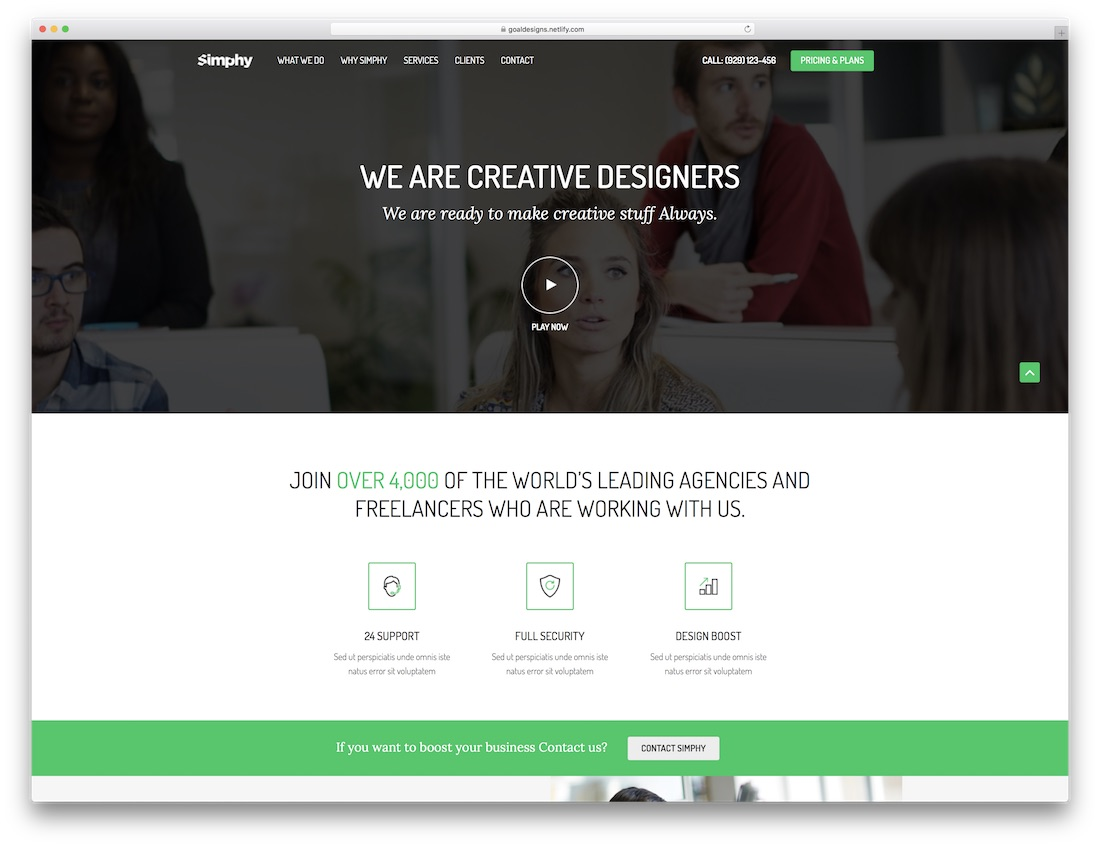 simphy adobe muse landing page template
