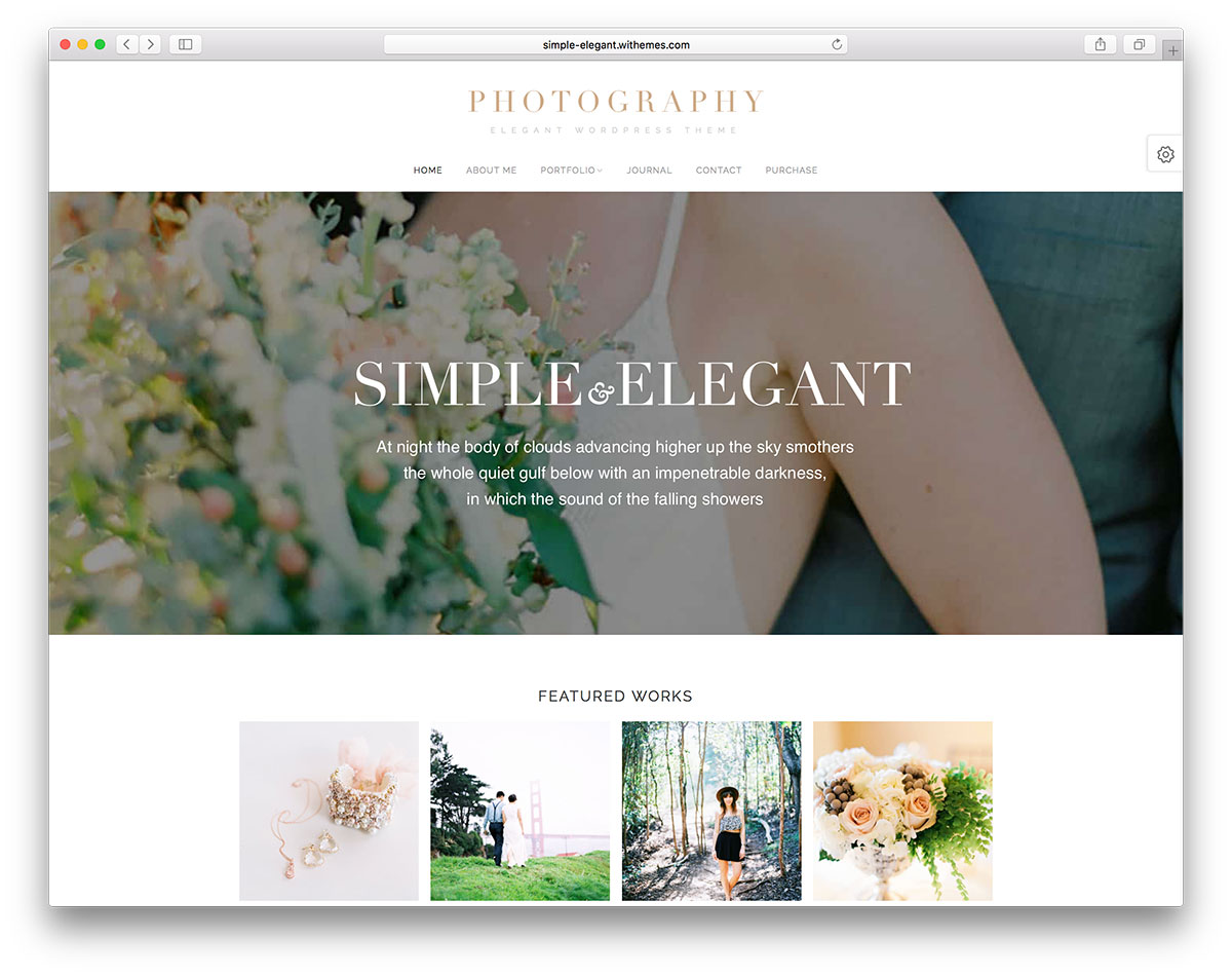 Simple Elegant Is A High Quality WordPress Theme The Developers Made This To Perfectly Fit In Creative Business With Emphasis On Photography