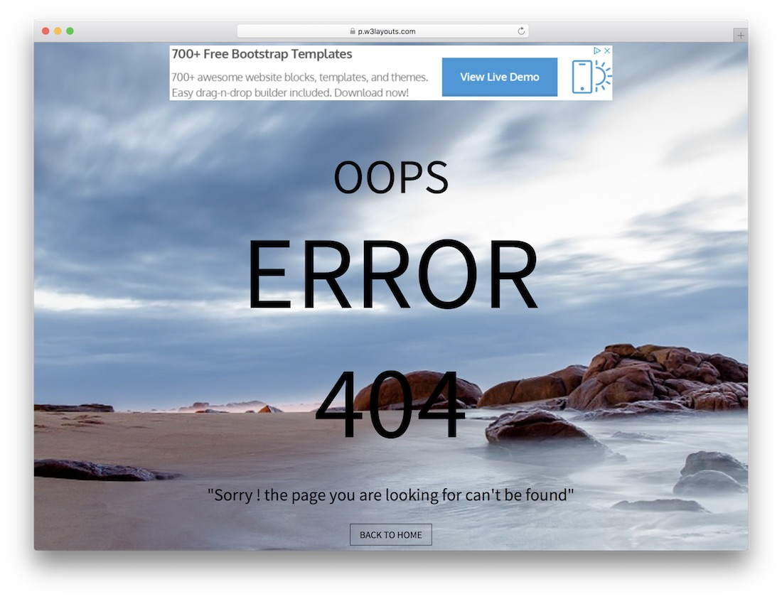 simple free 404 error page template