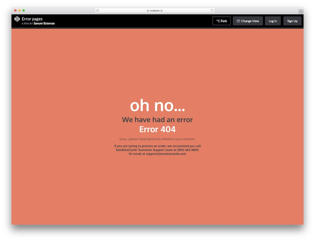 simple free error page template