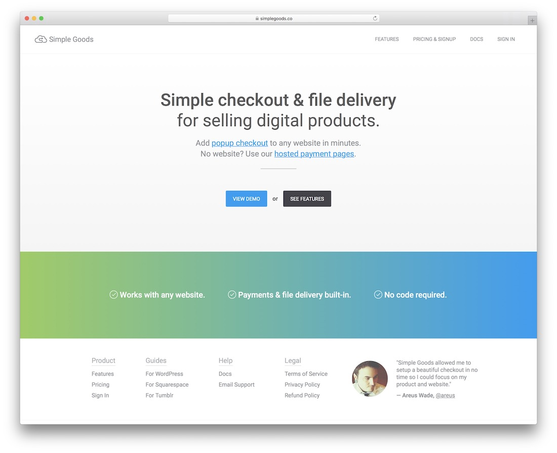 simple goods checkout and file delivery for selling digital product
