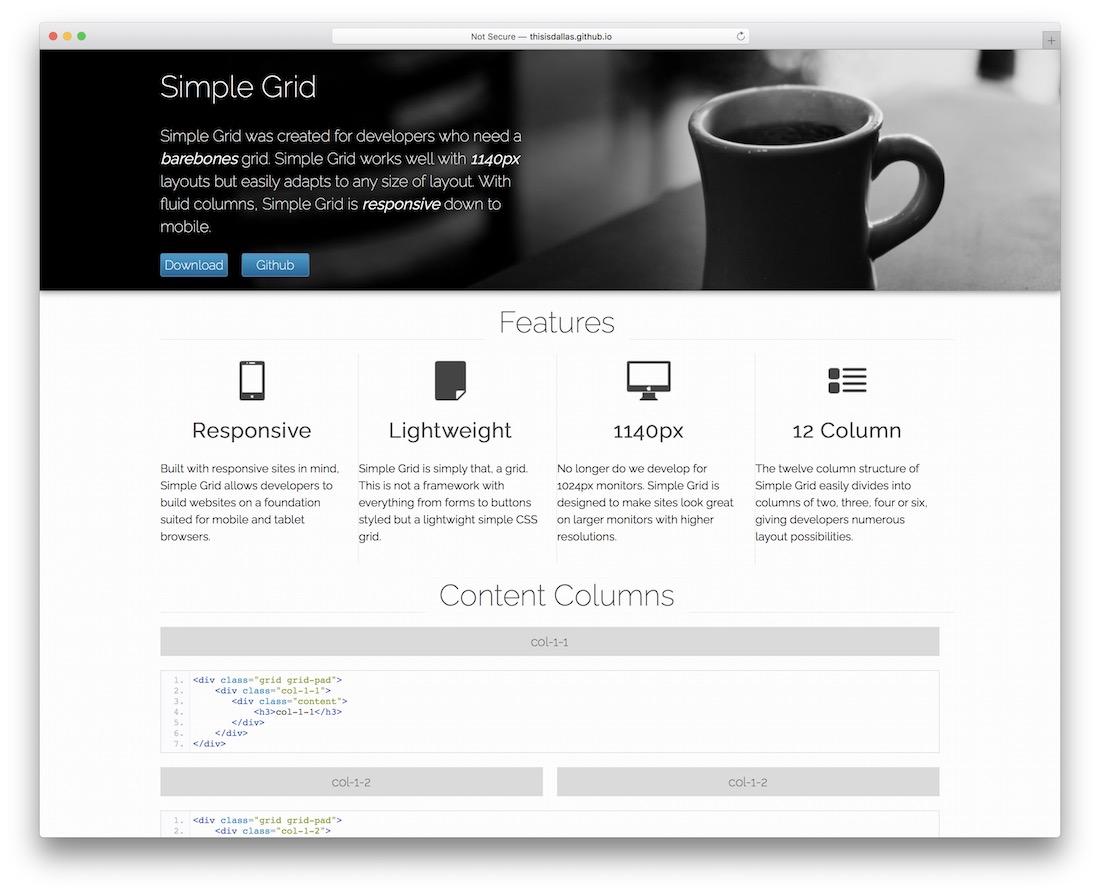 simple grid framework