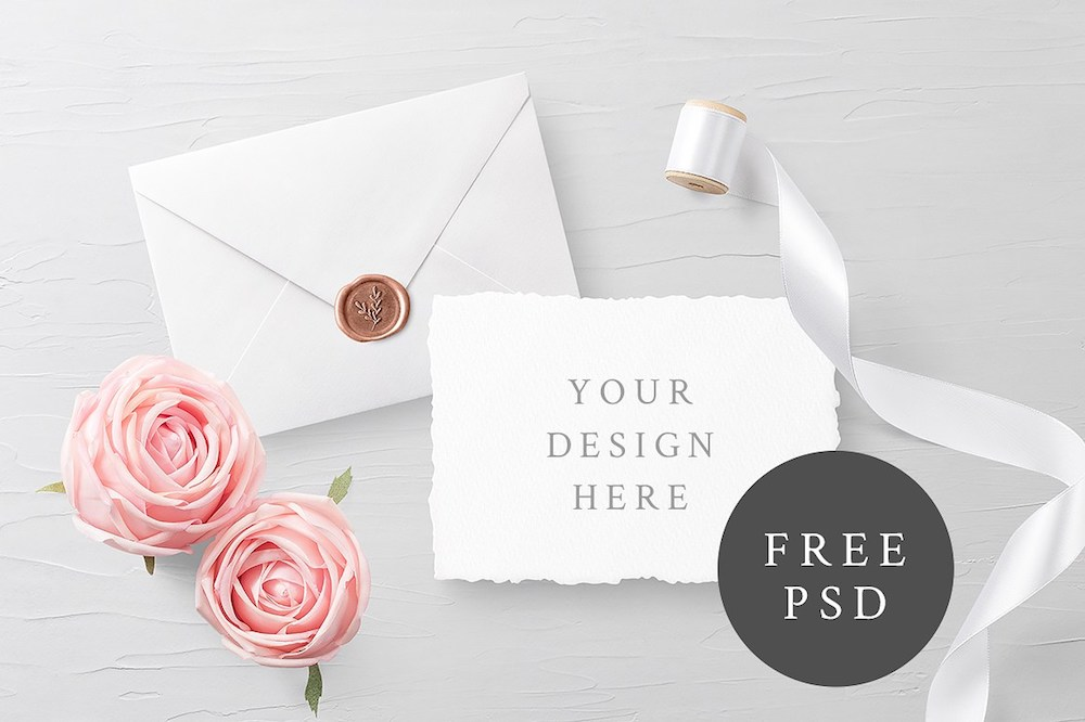 simple invitation card psd mockup