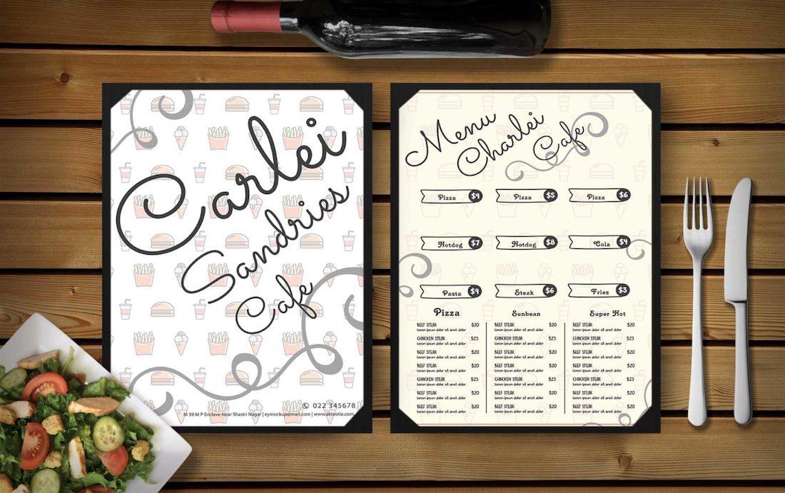 simple menu design psd mockup