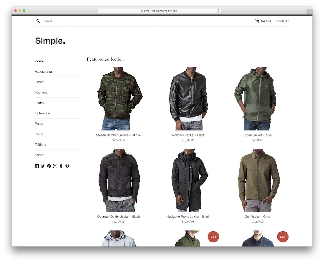 simple minimal shopify theme