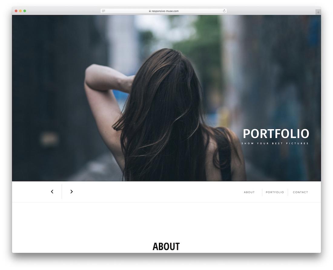 simple portfolio free adobe muse template