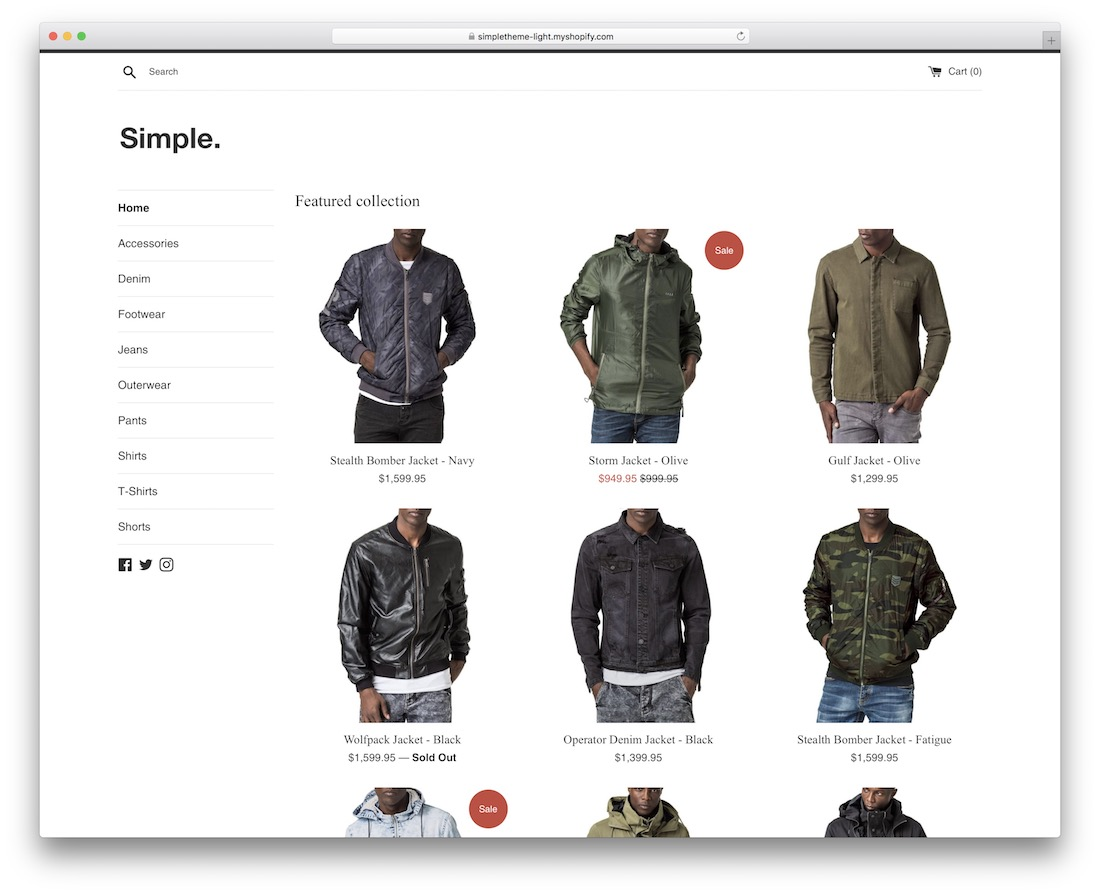 simple shopify theme for t-shirts