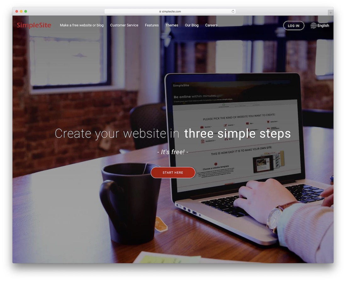 simplesite free one page website builder