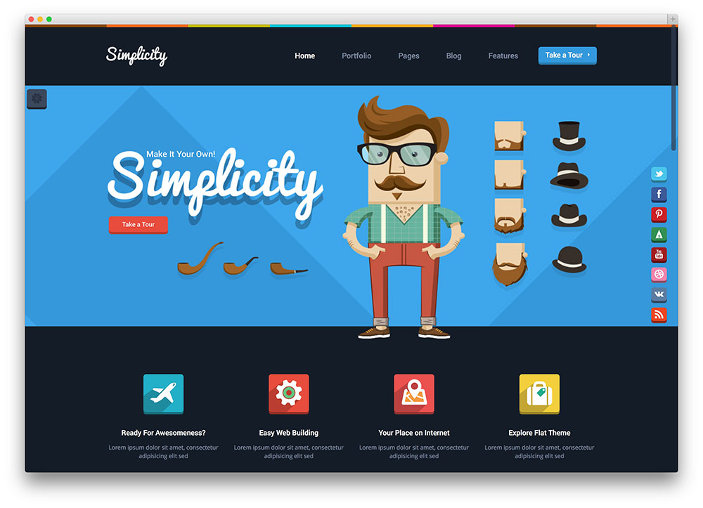 simplicity - dark flat design theme