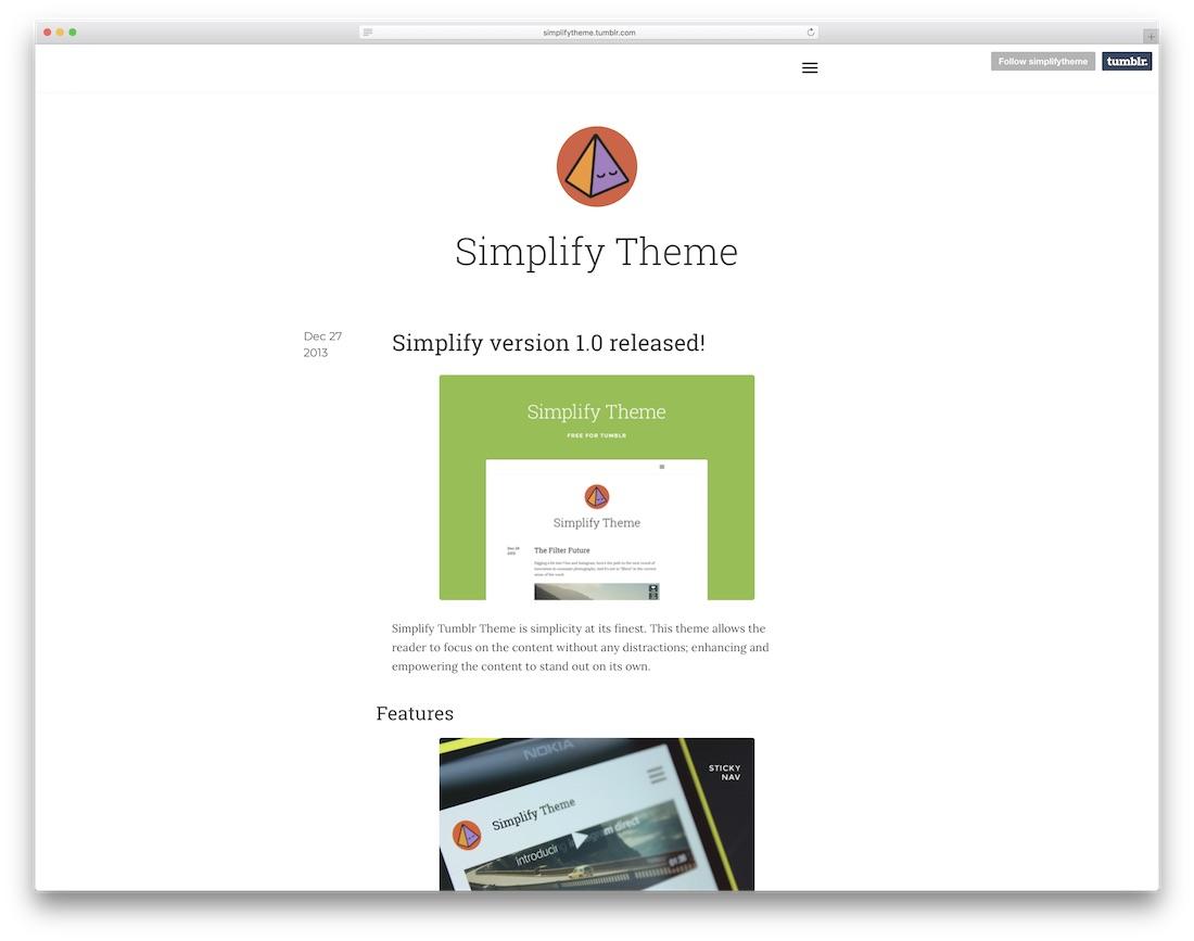 simplify free tumblr theme