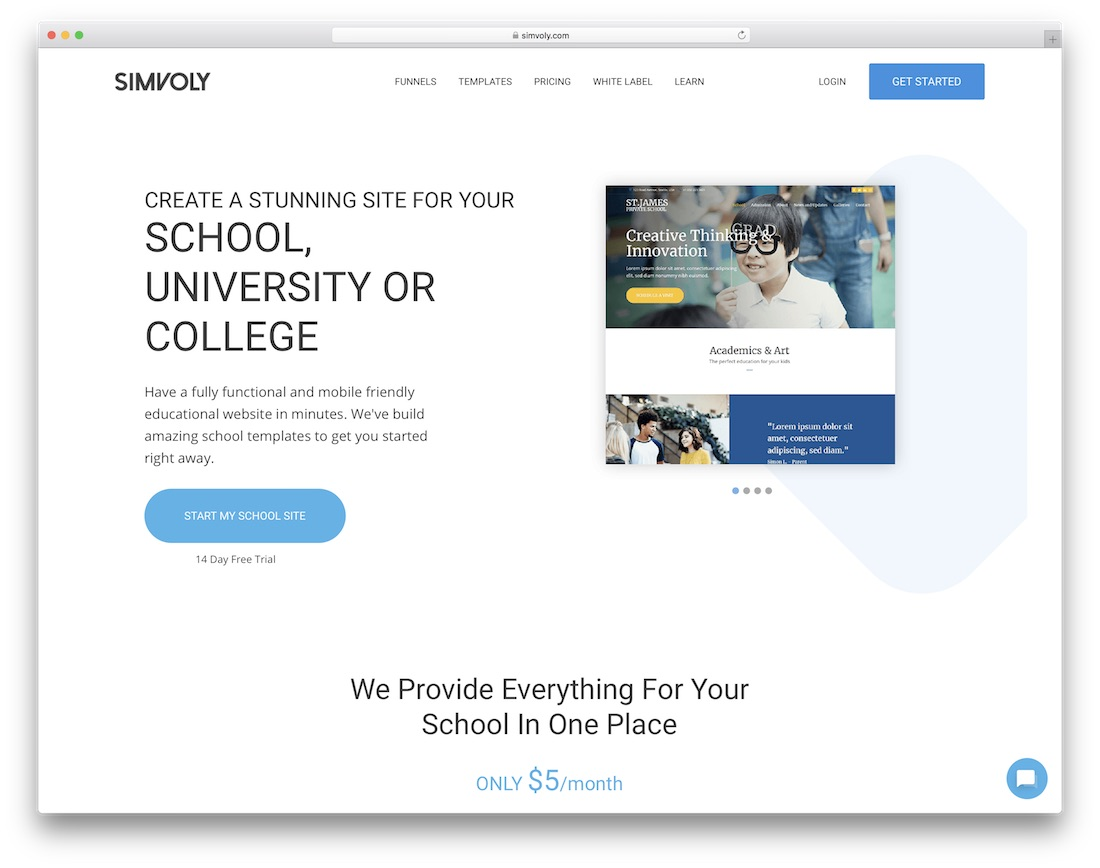 simvoly education website builder