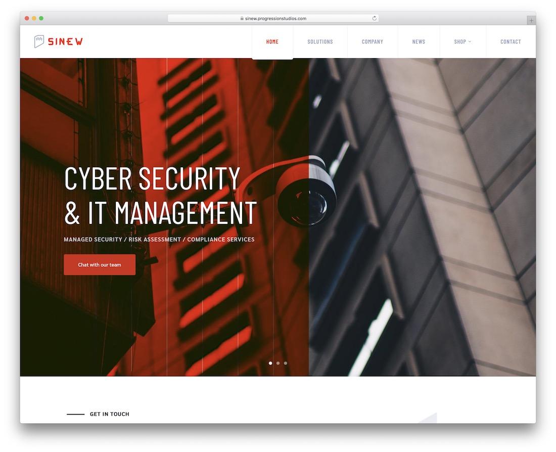 sinew security service wordpress theme
