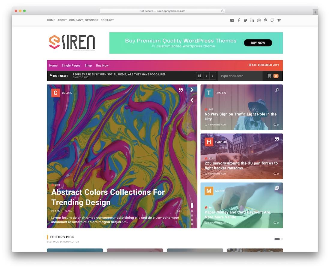 siren wordpress review theme