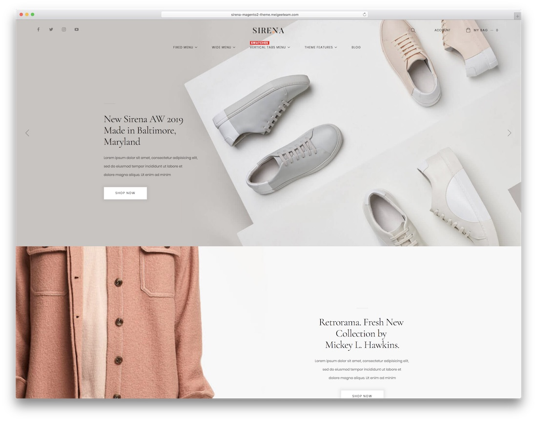 sirena popular magento theme