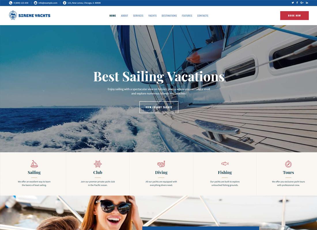 Sirene - Yacht Charter Services & Boat Rental WordPress Theme
