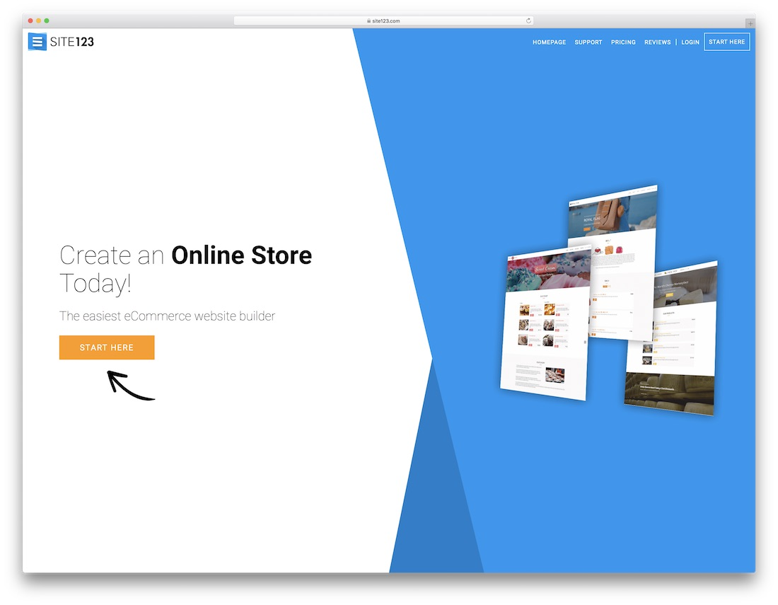 site123 cheap ecommerce website builder