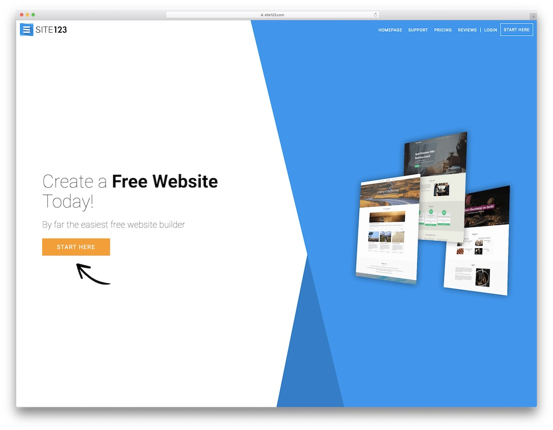 site123 free website builder and hosting