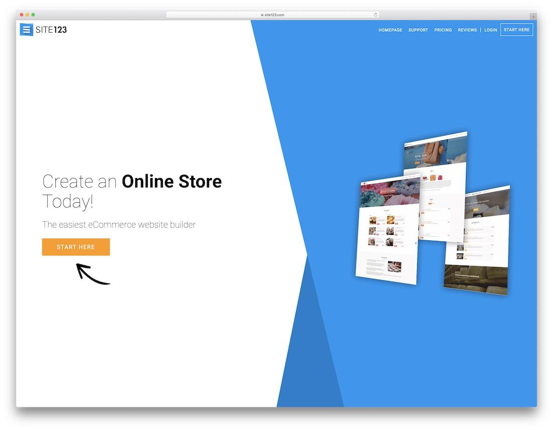 site123 responsive best online store builder