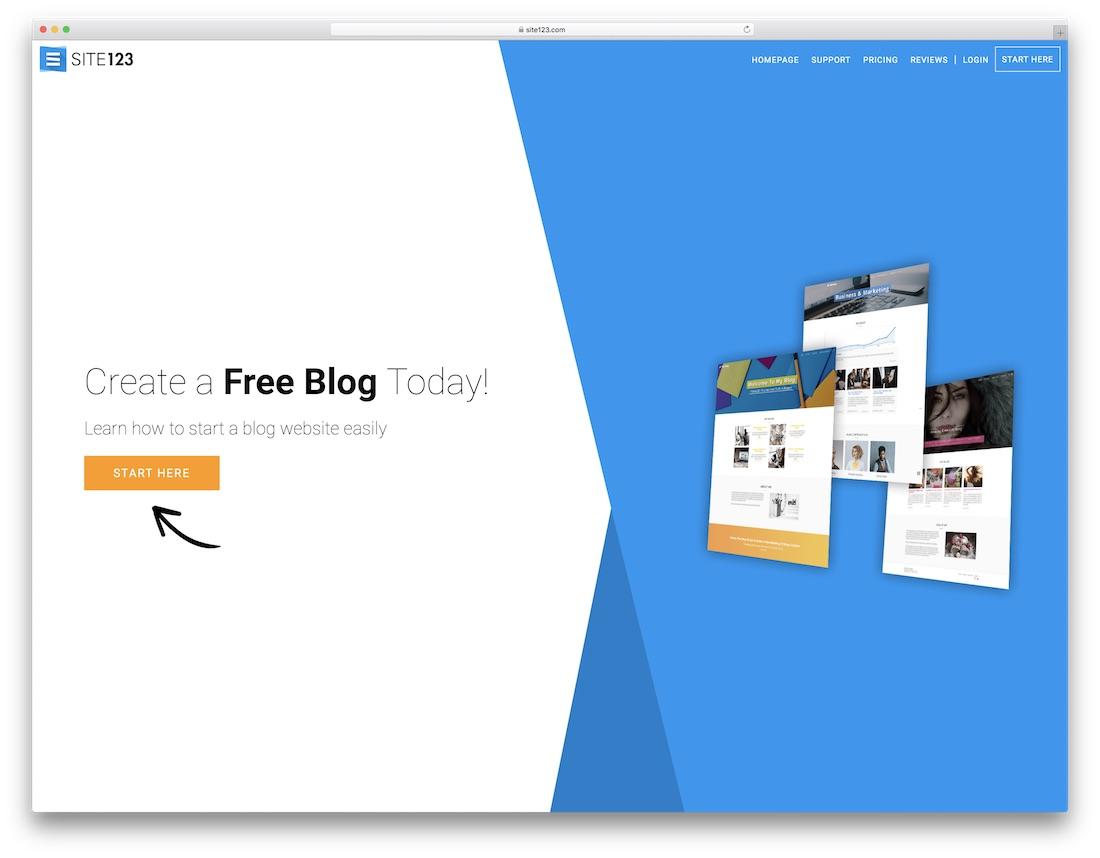 site123 website builder for blogs