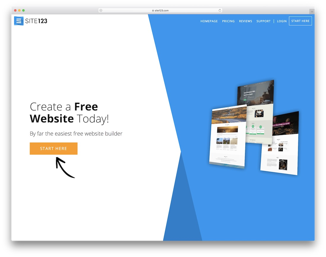 site123 website builder for construction company
