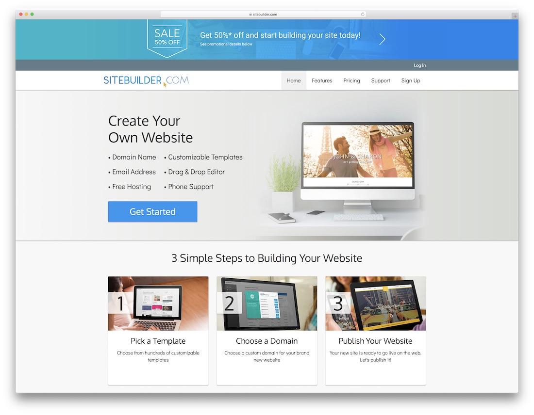 sitebuilder best one page website builder