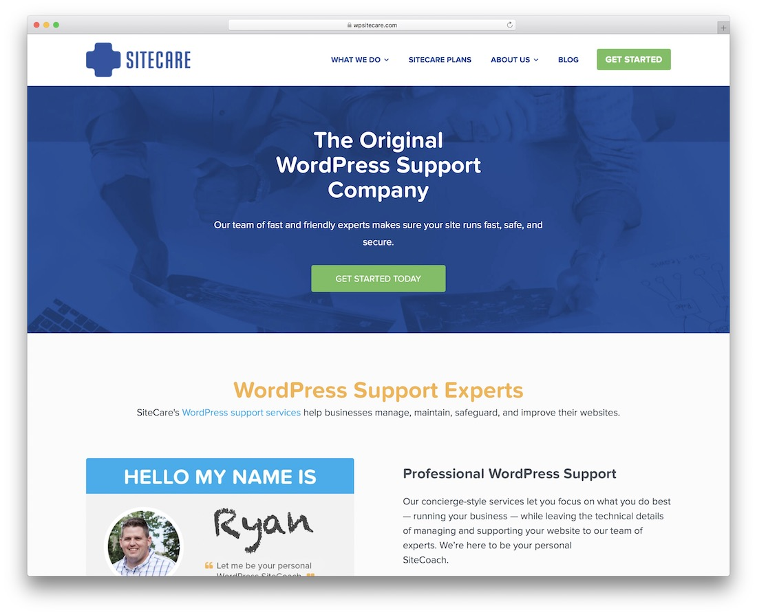 sitecare wordpress maintenance service