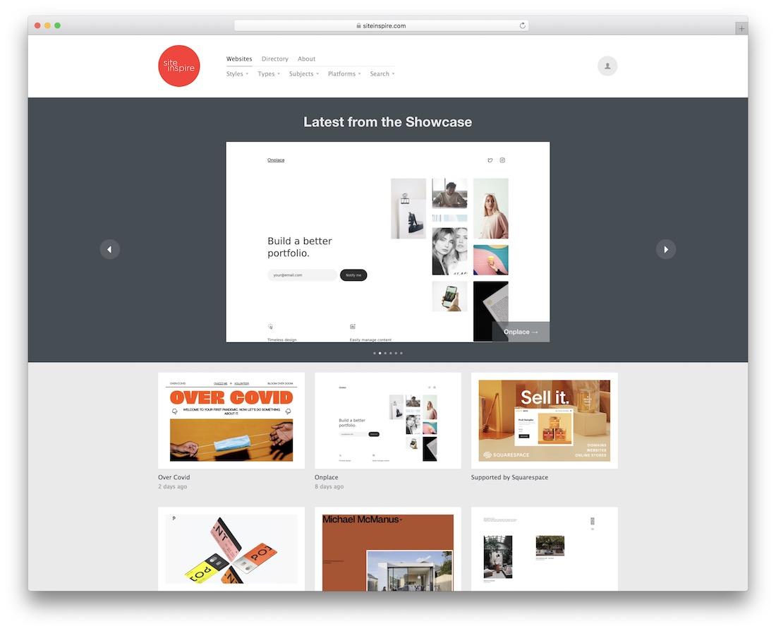 siteinspire showcase inspiration site web design