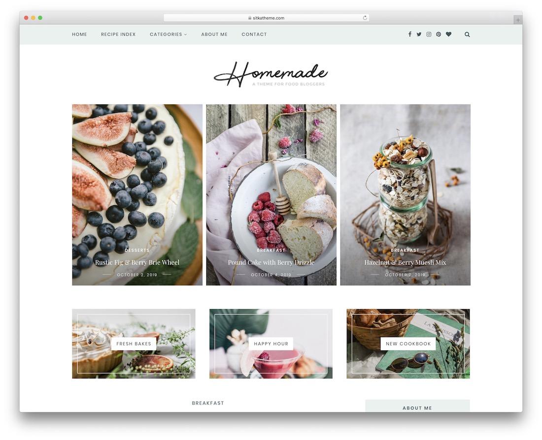 sitka wordpress food blog theme