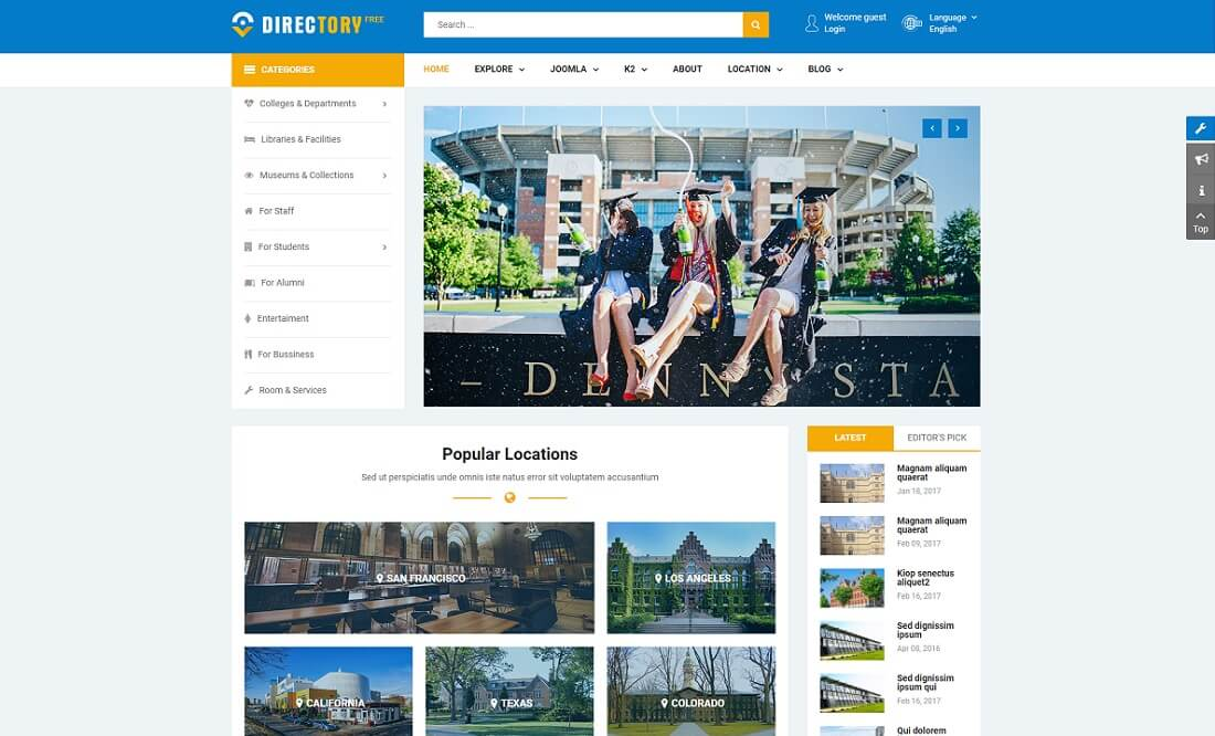 sj theme free directory website template