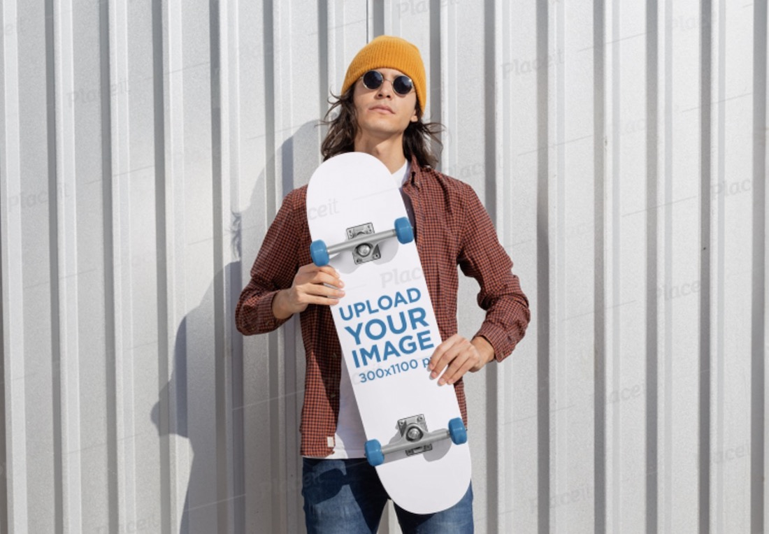 skateboard mockup featuring a cool man with sunglasses