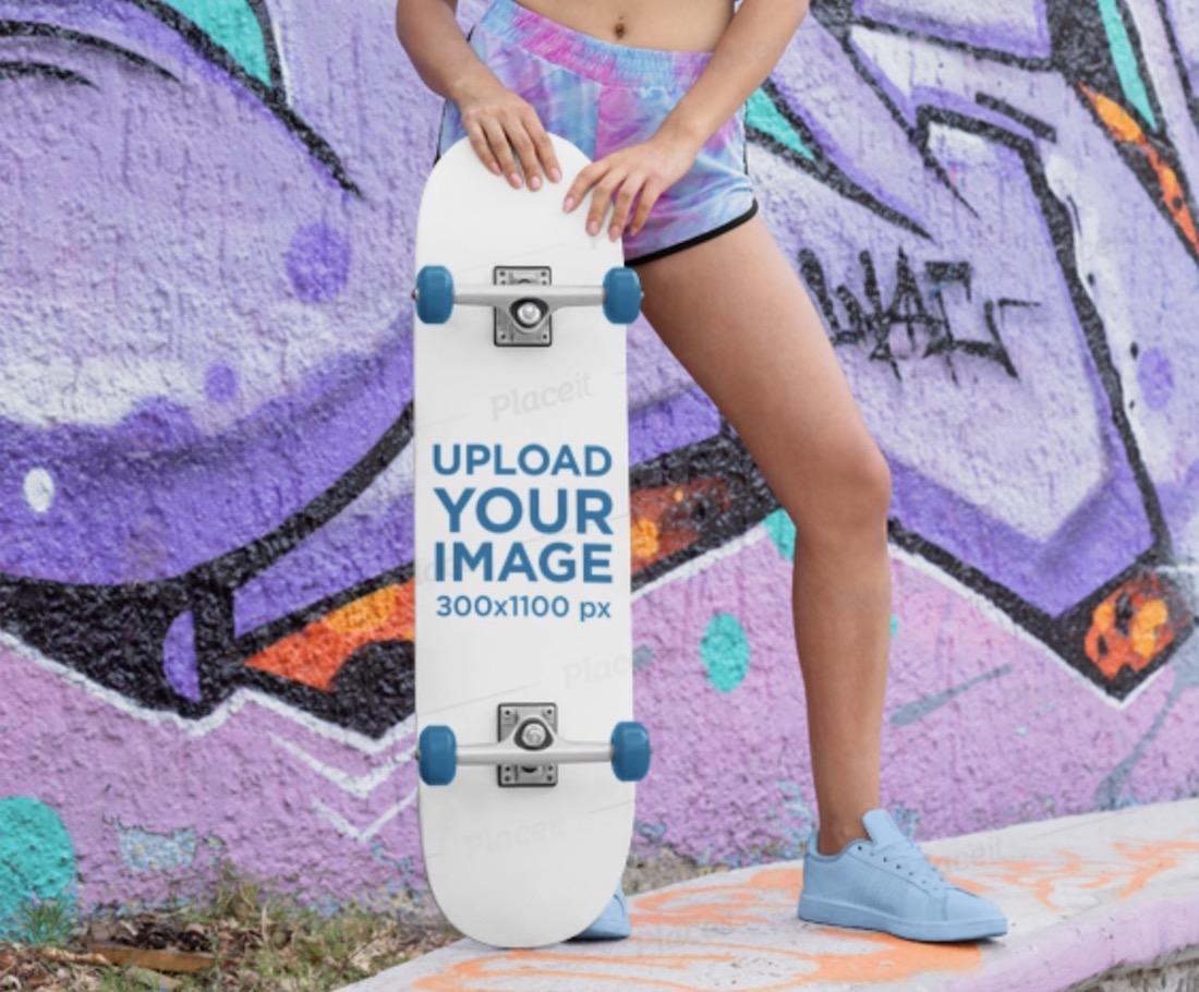 skateboard mockup featuring a woman model