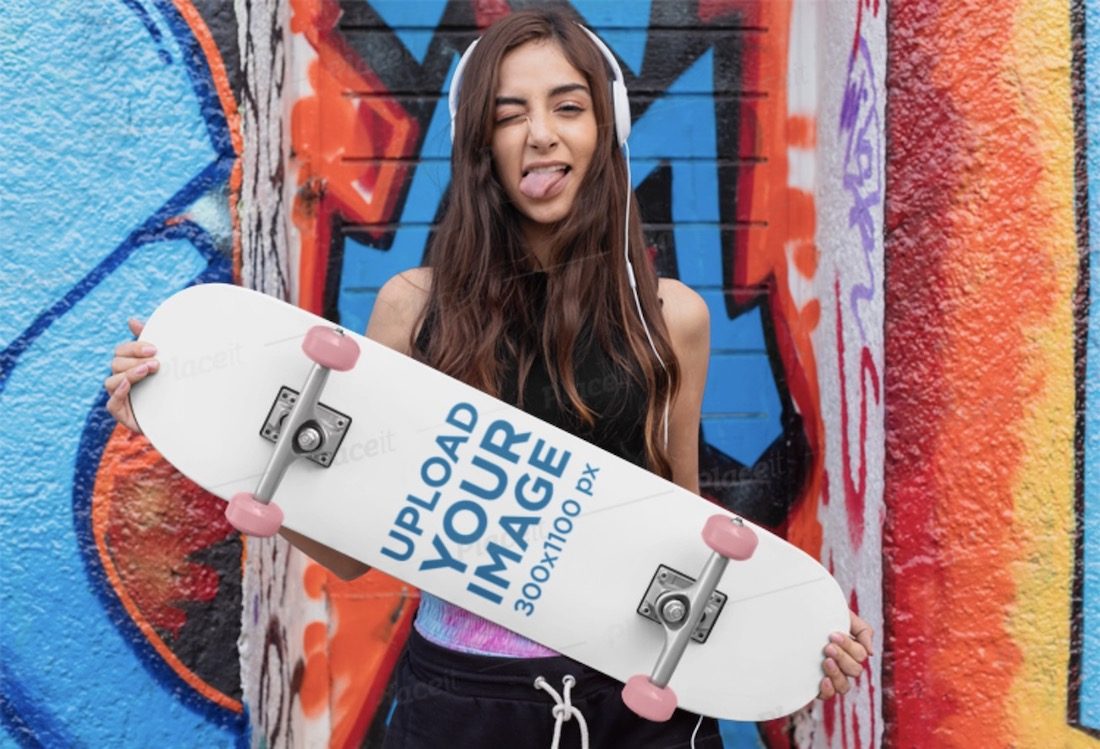 skateboard mockup featuring a young woman