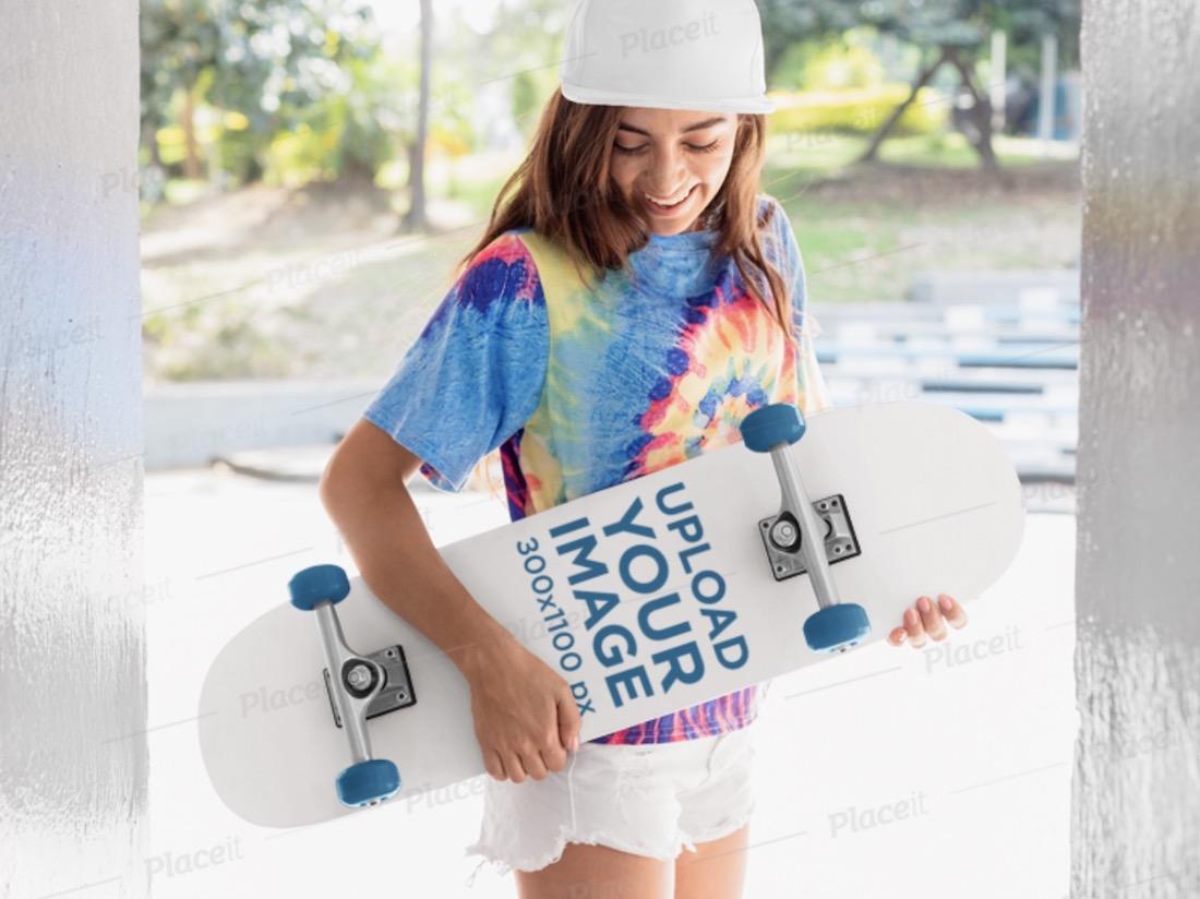 skateboard mockup of a skater woman