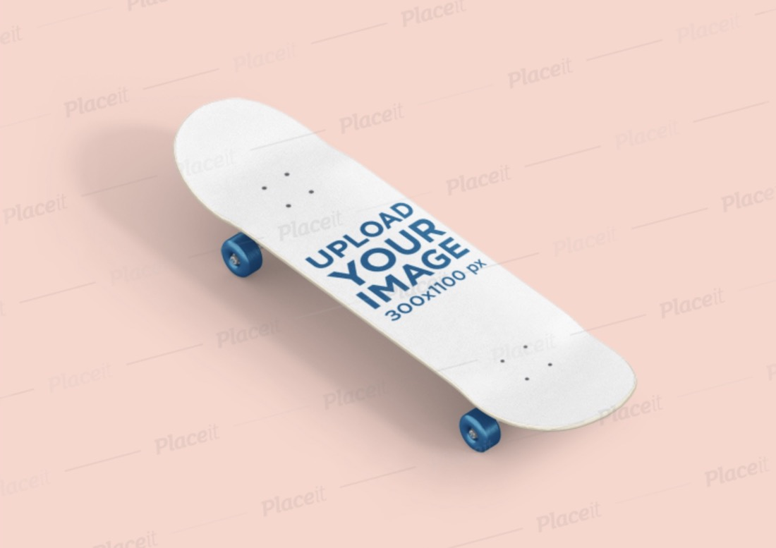 skateboard mockup placed in a flat surface
