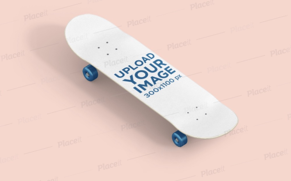 skateboard mockup placed on a flat surface