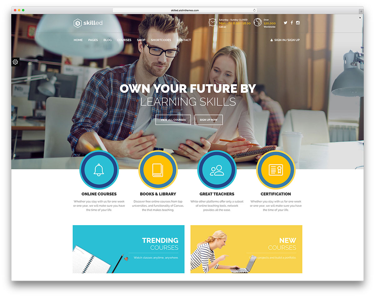 15 lms learning management system wordpress themes 2018 colorlib skilled creative online course website template xflitez Gallery