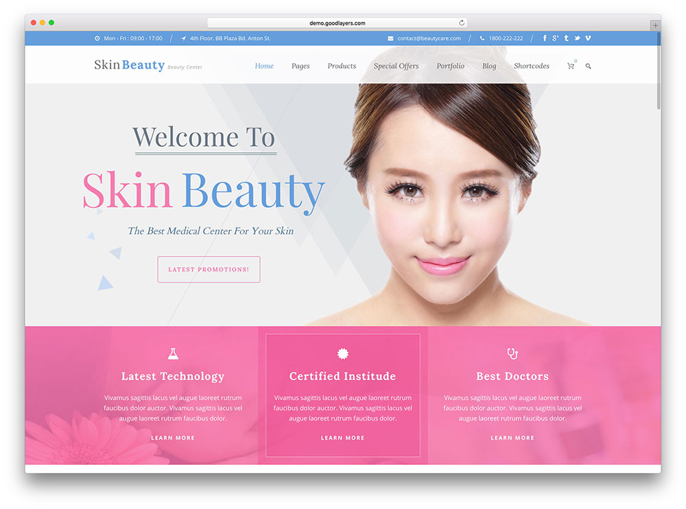 skin beauty center template