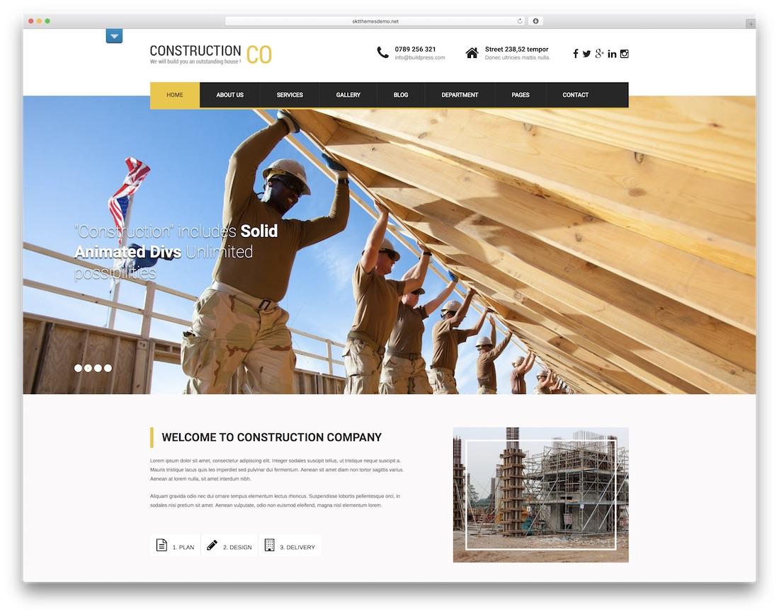 skt construction lite free construction website template
