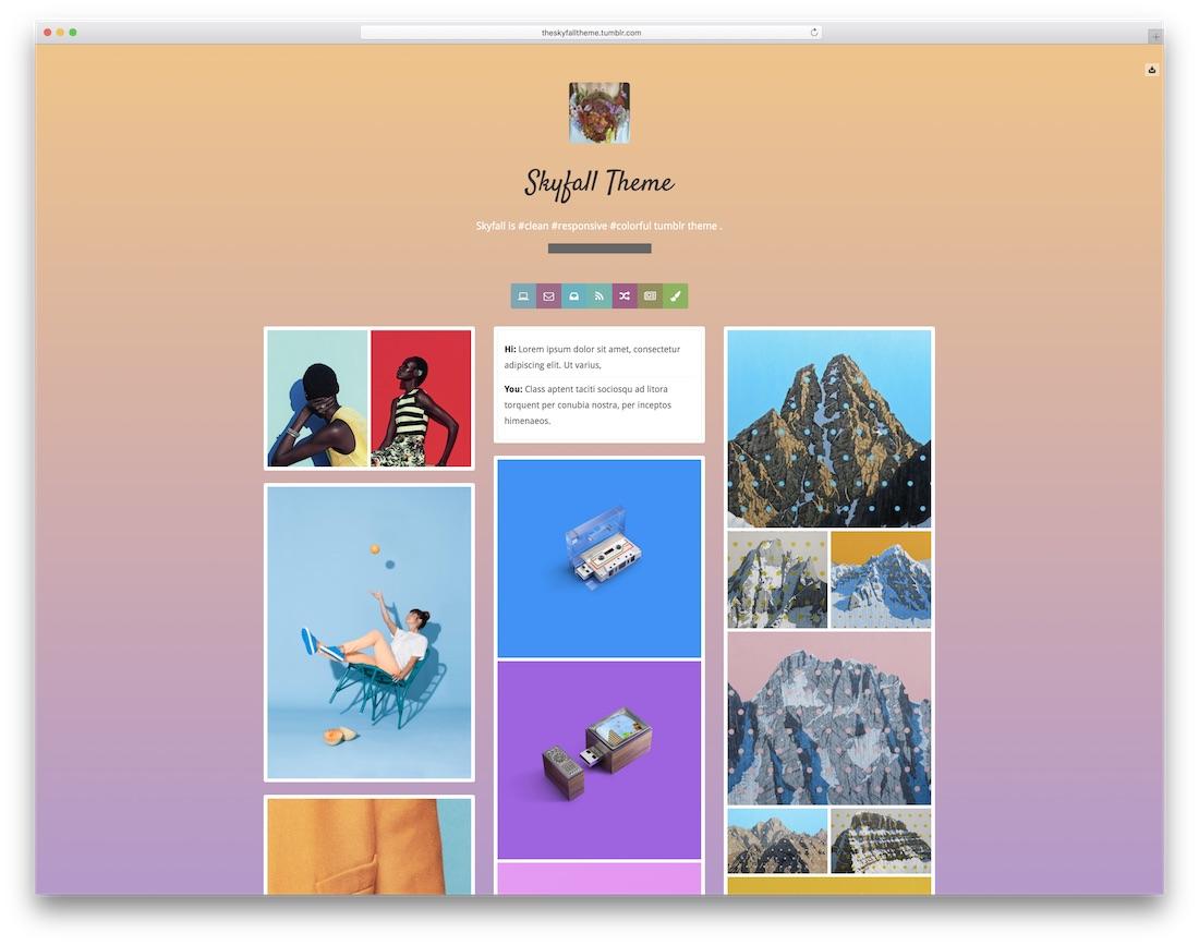 skyfall free tumblr theme